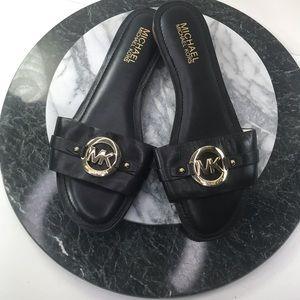 Michael Kors Black Leather Slide On Sandals 7